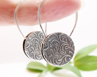 Sterling Silver Earrings Round Earrings Circle Earrings Dangle Earrings Tapestry Earrings Mothers Day Gift Ideas