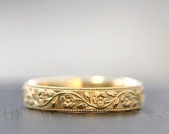 Silver Wedding Band--Marigold--Floral Wedding Band--Antique Style Ring--Antique Style Band--Vintage Style Ring--Flower Ring--Vintage Band