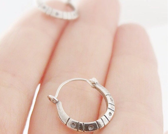 Dots and Dashes Sterling Silver Tiny Hoop Earrings