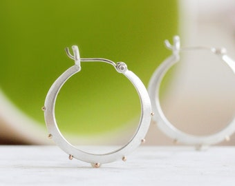 RESERVED -- Large Sterling Silver Hoop Earrings Small Silver Hoops Sterling Earrings Silver Earrings with 14k Gold Granules Handmade Gifts