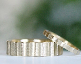 Textured Wedding Band Modern Mens Wedding Ring 14k Rose Hand Hewn Wedding Band Plain Simple Wedding Band Womens Wedding Band