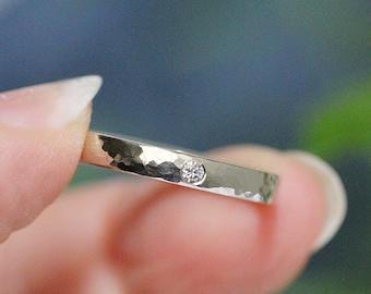 Flush Set Diamond Engagement Ring Skinny Wedding Band Stacking Ring Hammered Wedding Ring 14k White Gold