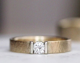 Moissanite Engagement Ring Womens Wedding Band Wedding Ring Diamond Alternative Womens Engagement Ring Crosshatch Hand Hewn Ring