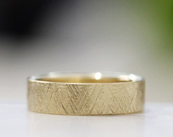 Hammered Gold Textured Wedding Band Modern Mens Wedding Ring 14k Yellow Wedding Band Simple Wedding Band Womens Wedding Band CROSSHATCH HEWN