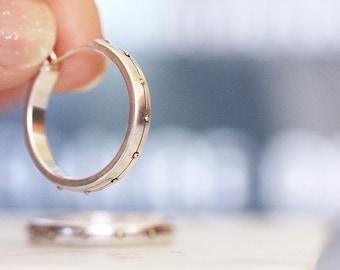 Sterling Silver Hoop Earrings, 14k Gold Earrings, Gold Accent Hoops, Sterling Hoops, Handmade Earrings, Small Hoop
