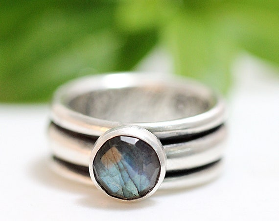 Silver And Labradorite Statement Ring - Handmade Womens Secret Garden Ring Secret With Stormy Green Blue Stone