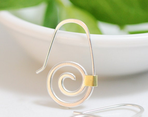 Sterling and Brass Spiral Earrings