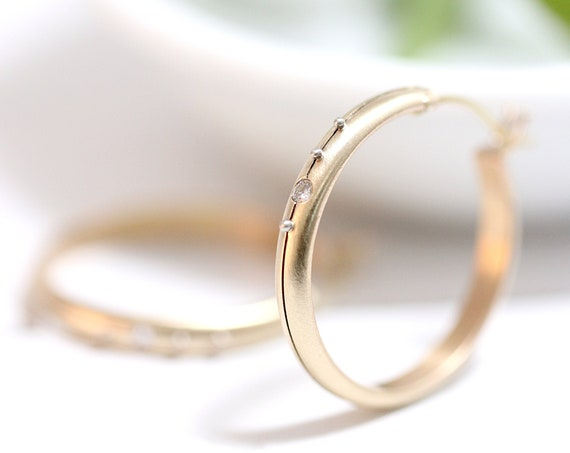 14k Gold Starlight Hoop Earrings