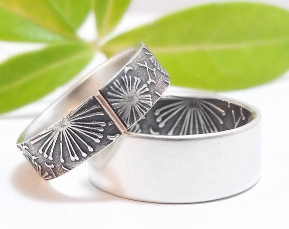 Mens and Womens Dandelion Wedding Band Set - Sterling Silver Handmade Wedding Rings with 14k Rose Gold Accent