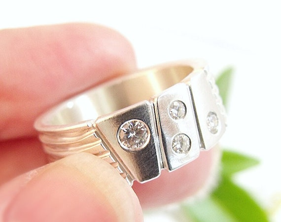 Modern Statement Ring Sterling Silver Ring Moissanite Ring Wide Band Super Hero Chunky Ring