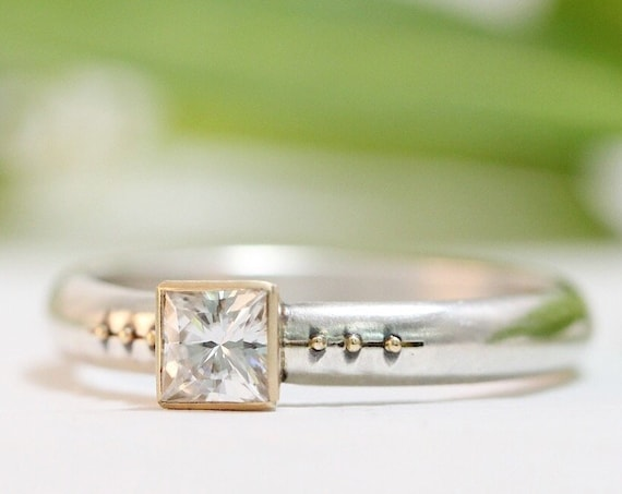 Square Moissanite Engagement Ring