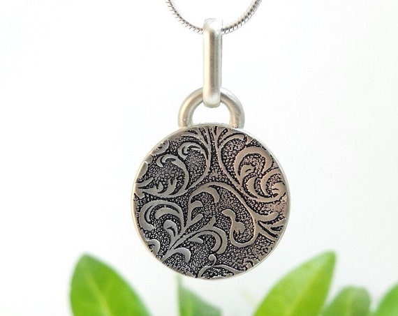 Sterling Silver Domed Floral Pendant