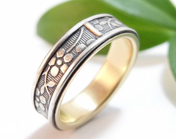 Sterling Silver And Gold Wedding Band Set - Wedding Rings For Men And Women - Aloha Forget-Me-Not Floral