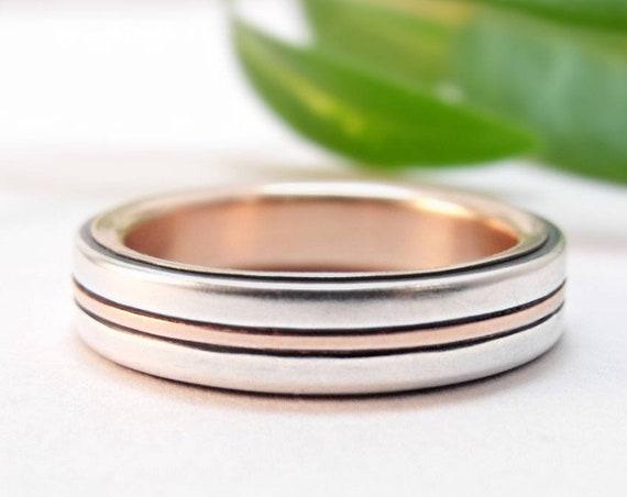 Men's and Women's Modern Silver Wedding Band - Bauhaus Wedding Ring