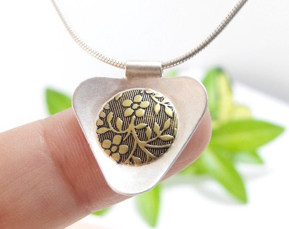 Sunflower Triangle Pendant in Sterling Silver and Brass