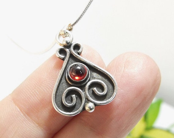 Sterling Silver Pendant Filigree Teardrop Silver and Garnet Necklace