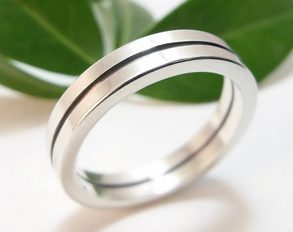 Wedding Band - Modern Bauhaus Wedding Ring For Him Or Her