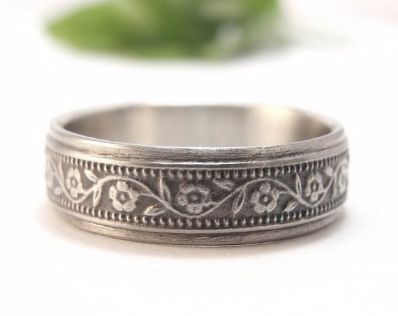 White Gold Womens Wedding Band - Petunia Wedding Ring for Men or Women