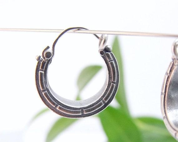 Sterling Silver Double Ribbed Hoop Earrings