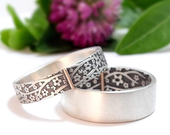 Handmade Cherry Blossom Wedding Bands - Silver Opposites Attract Wedding Rings With 14k Gold Accent