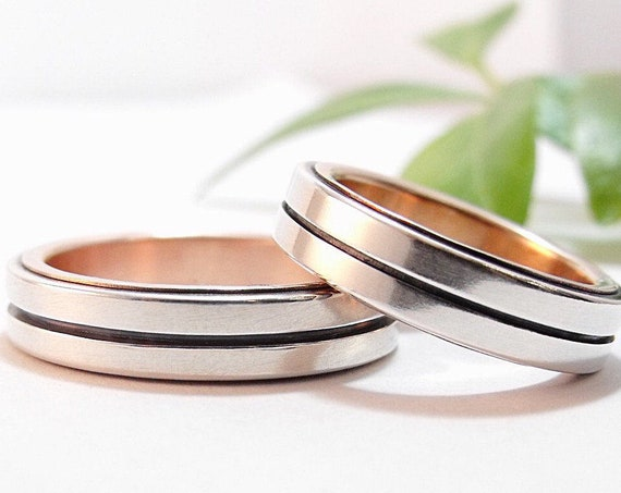 Modern Wedding Band Set - Silver and Rose Gold Bauhaus Men's and Women's Wedding Ring Set