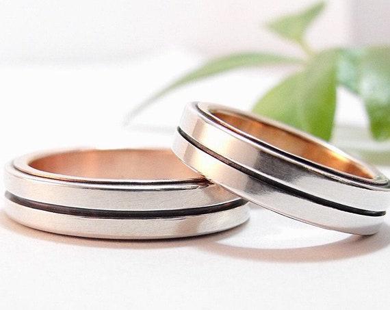 Modern Wedding Band Set - Silver and Rose Gold Bauhaus Men's and Women's Wedding Ring Set