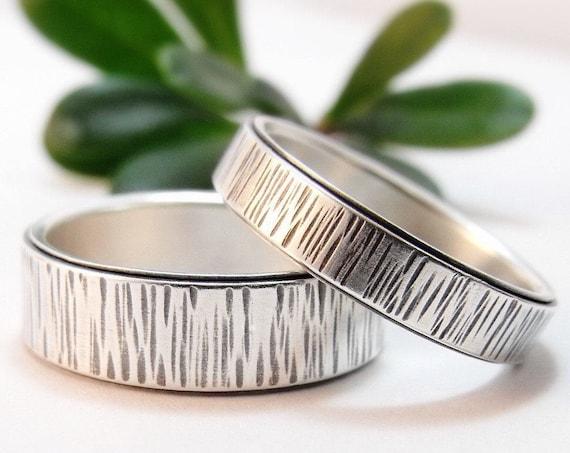 Winter Bark Sterling Silver Wedding Band Set - Handmade Birch Bark Wedding Rings for Men and Women