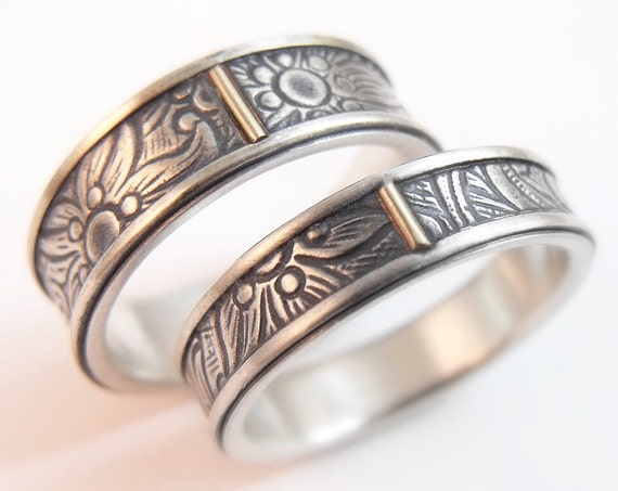 Sterling Silver Sunflower Wedding Bands - Floral Summer Wedding Rings for Him And Her