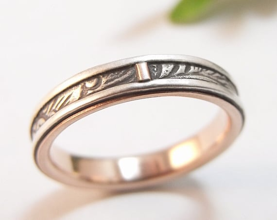 Skinny, Stackable Wedding Band - Silver And 14k Rose Gold Sunflower Women's Wedding Band