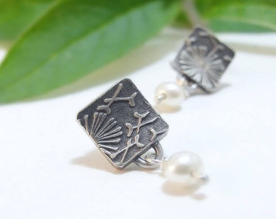 Square Post Earrings - Sterling Silver and Pearl Floral Earrings