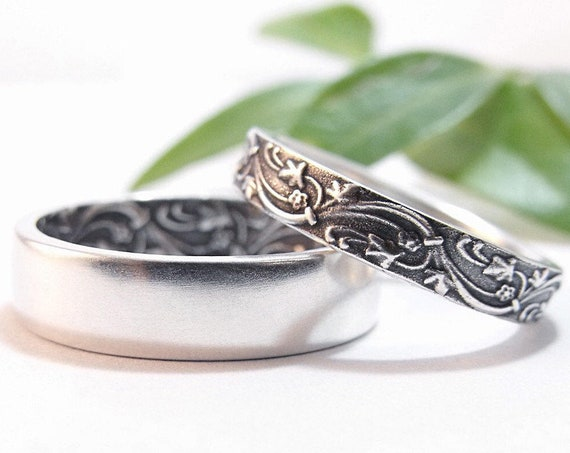Womens Wedding Band Set Womens Wedding Ring Set Mens Wedding Band Mens Wedding Ring Sterling Silver Wedding Rings Ivy Floral Wedding Bands