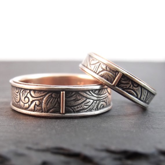 Silver And Rose Gold Sunflower Wedding Bands - Wedding Rings For Him And Her