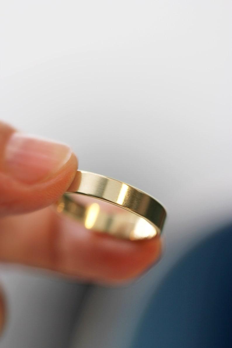 Wedding Band Modern Mens Wedding Ring 14k Yellow Gold Wedding image 0