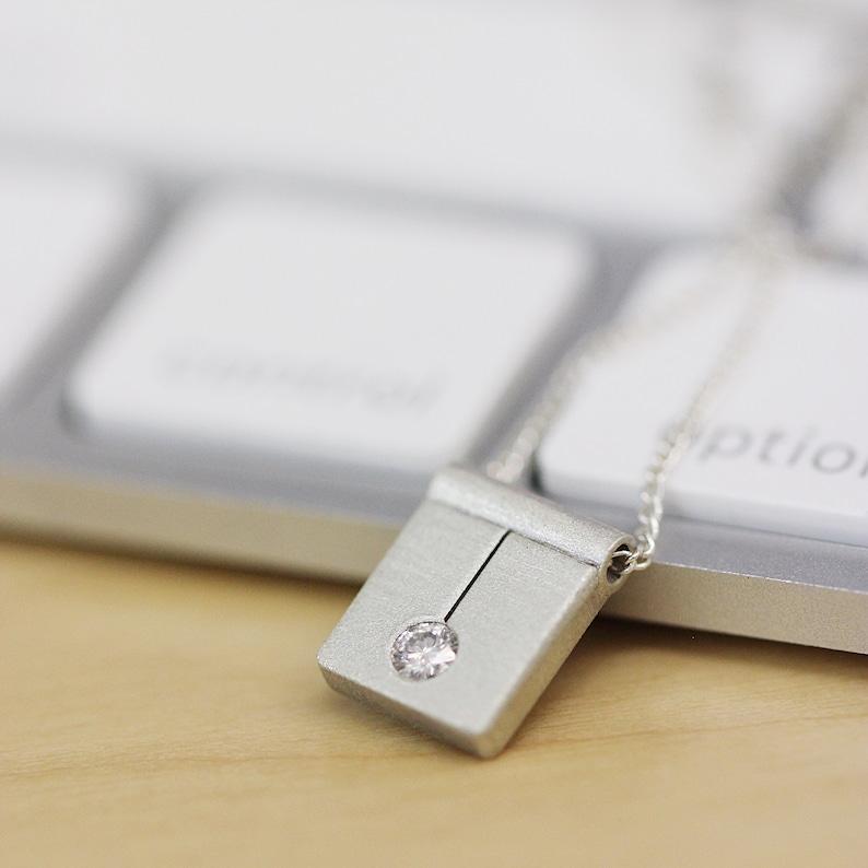 Sterling Silver Pendant Necklace Alternative Diamond Pendant image 0