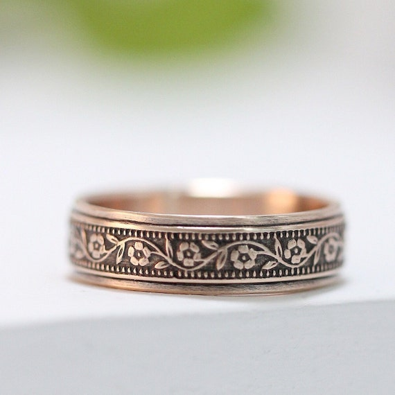 Rose Gold Petunia Wedding Band - Wedding Ring For Him And Her