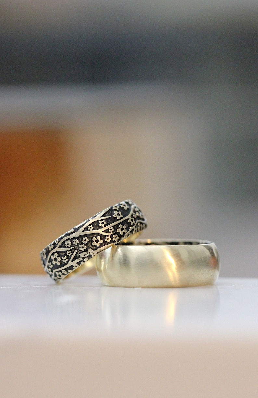 Yellow Gold Wedding Band Set Mens Wedding Ring Set Womens image 0