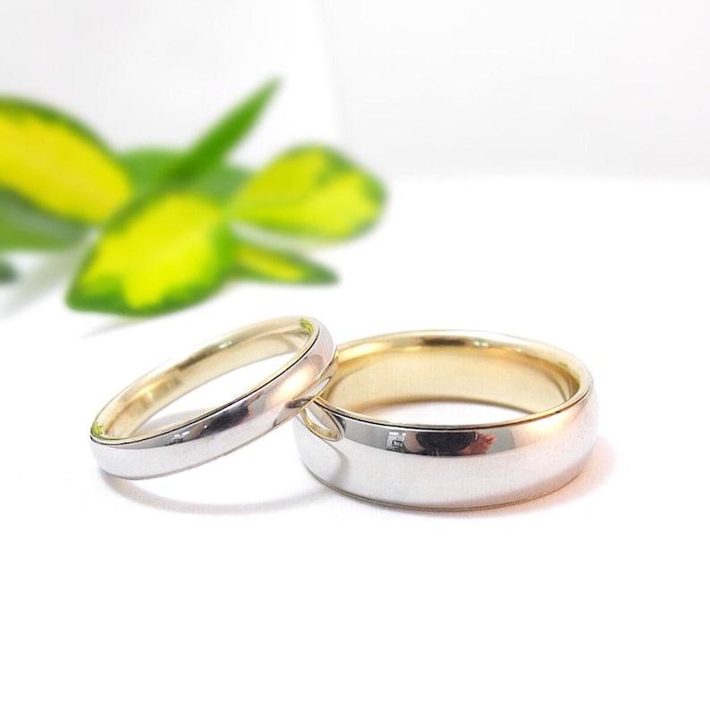 Platinum Wedding Band Mens Wedding Ring Set Womens Wedding image 0