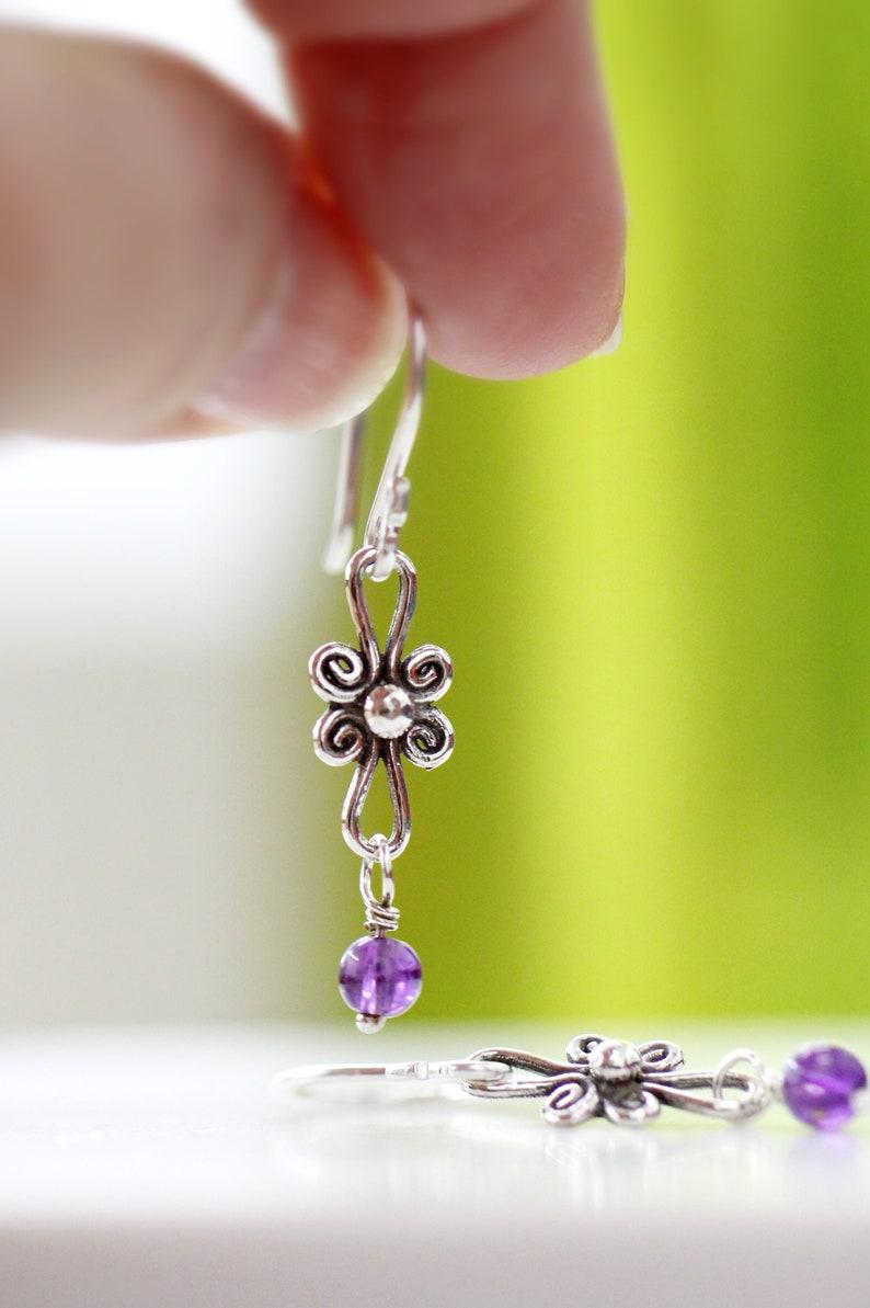 Delicate Silver Earrings Sterling Silver Dangle Earrings Tiny image 0