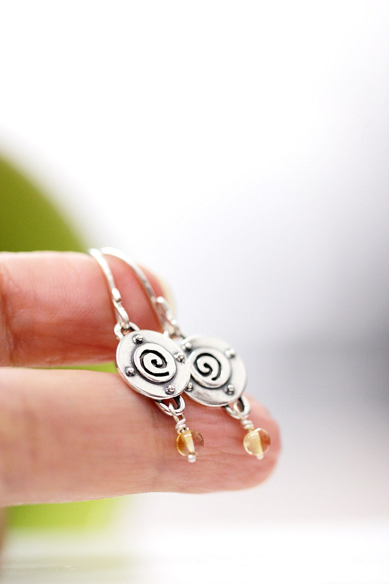 Spiral Silver Earrings Sterling Silver Dangle Earrings Tiny image 0