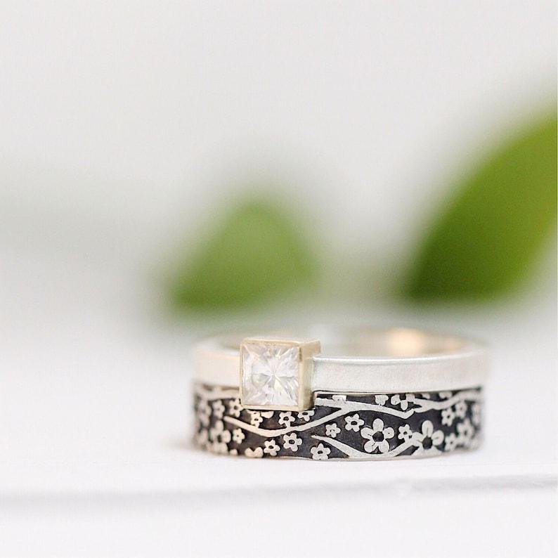 Engagement Ring Square Diamond-Alternative Moissanite image 0