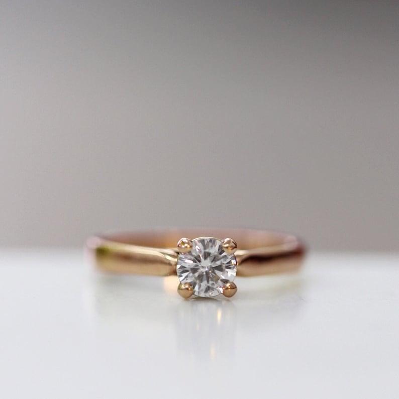 Moissanite Engagement Ring Round Diamond Alternative Ring image 0