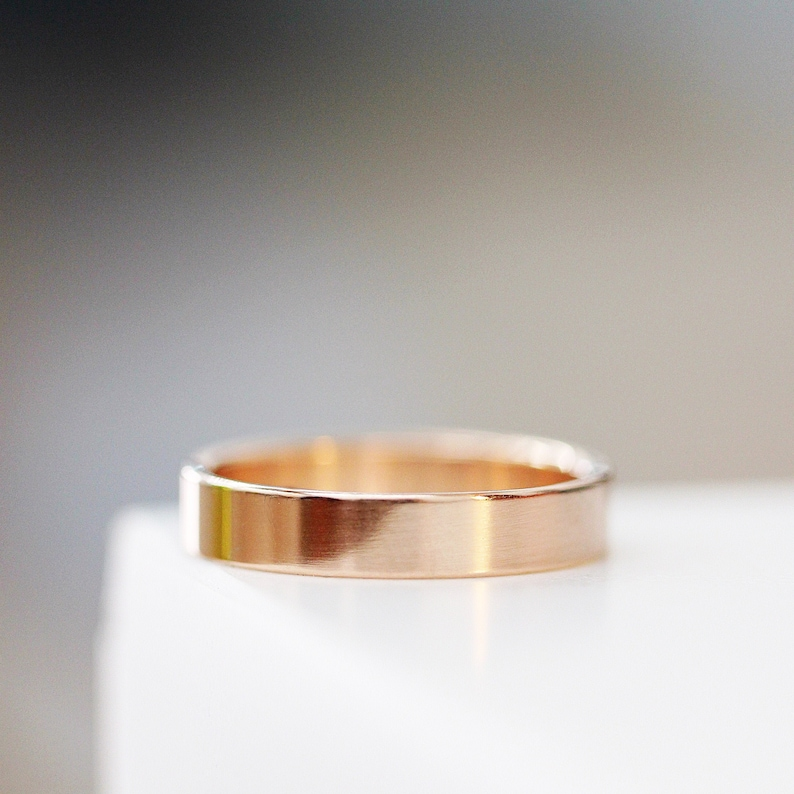 Wedding Band Modern Mens Wedding Ring 14k Rose Gold Classic image 0