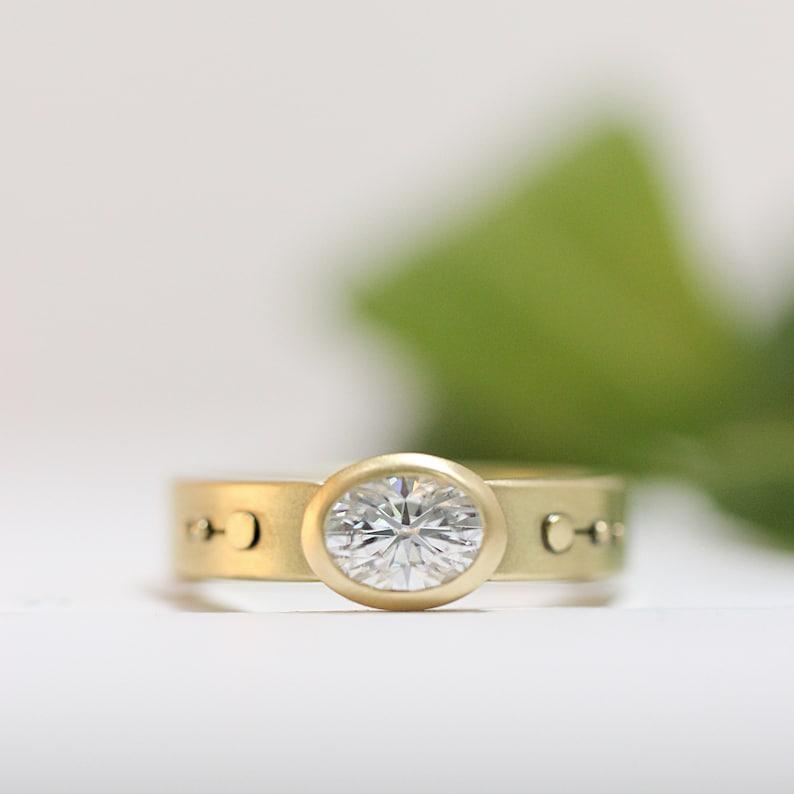 Engagement Ring Oval Moissanite Engagement 14k Gold 18k Gold image 0