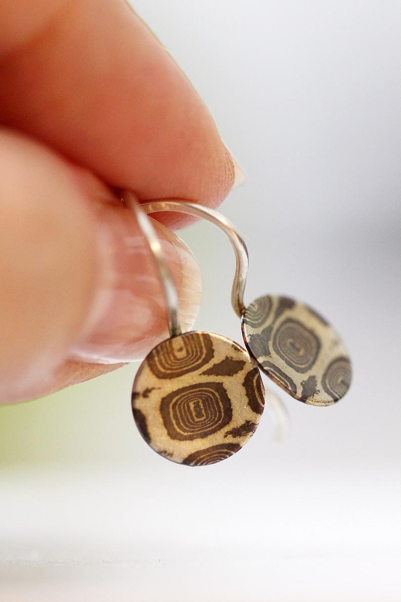 Mokume Earrings Mokume Gane Small Disc Earrings Sterling image 0