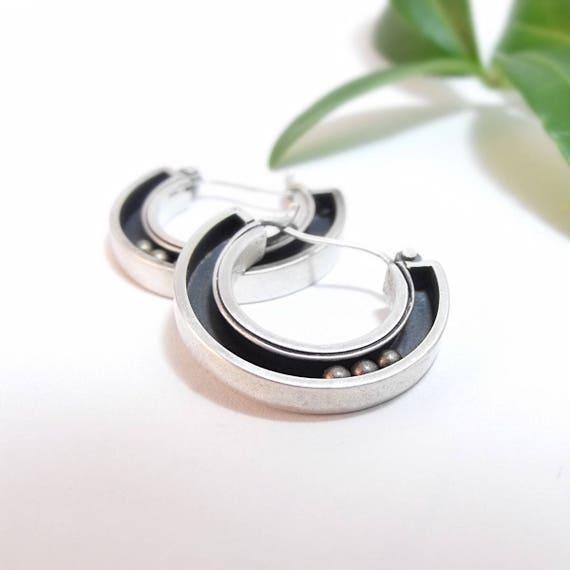 Handmade Silver and Brass Kinetic Hoop Earrings