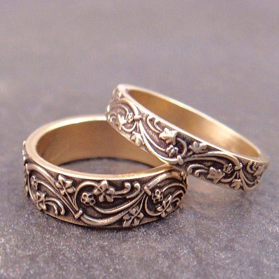 Gold Ivy Wedding Band Set - Art Deco Ivy Wedding Rings