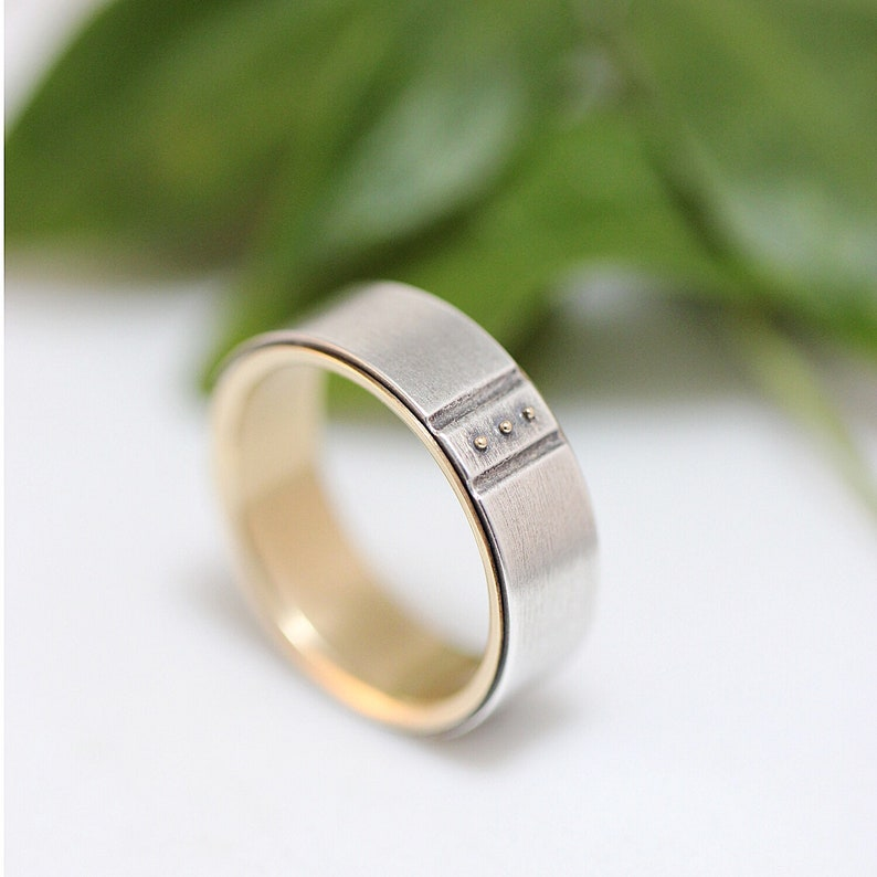 Mens Wedding Band For Him Sterling Silver and 14k Gold Wedding Band Mens Wedding Ring Mens Ring Womens Wedding Band Kenz\u014d Gold Ring Handmade