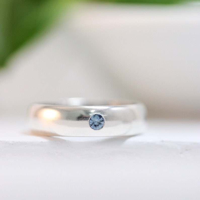 Teal Montana Sapphire Engagement Ring Sterling Silver or White image 0