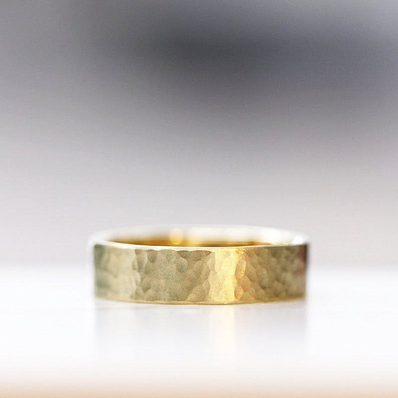 Textured Wedding Band Modern Mens Wedding Ring 14k Yellow Hand image 0