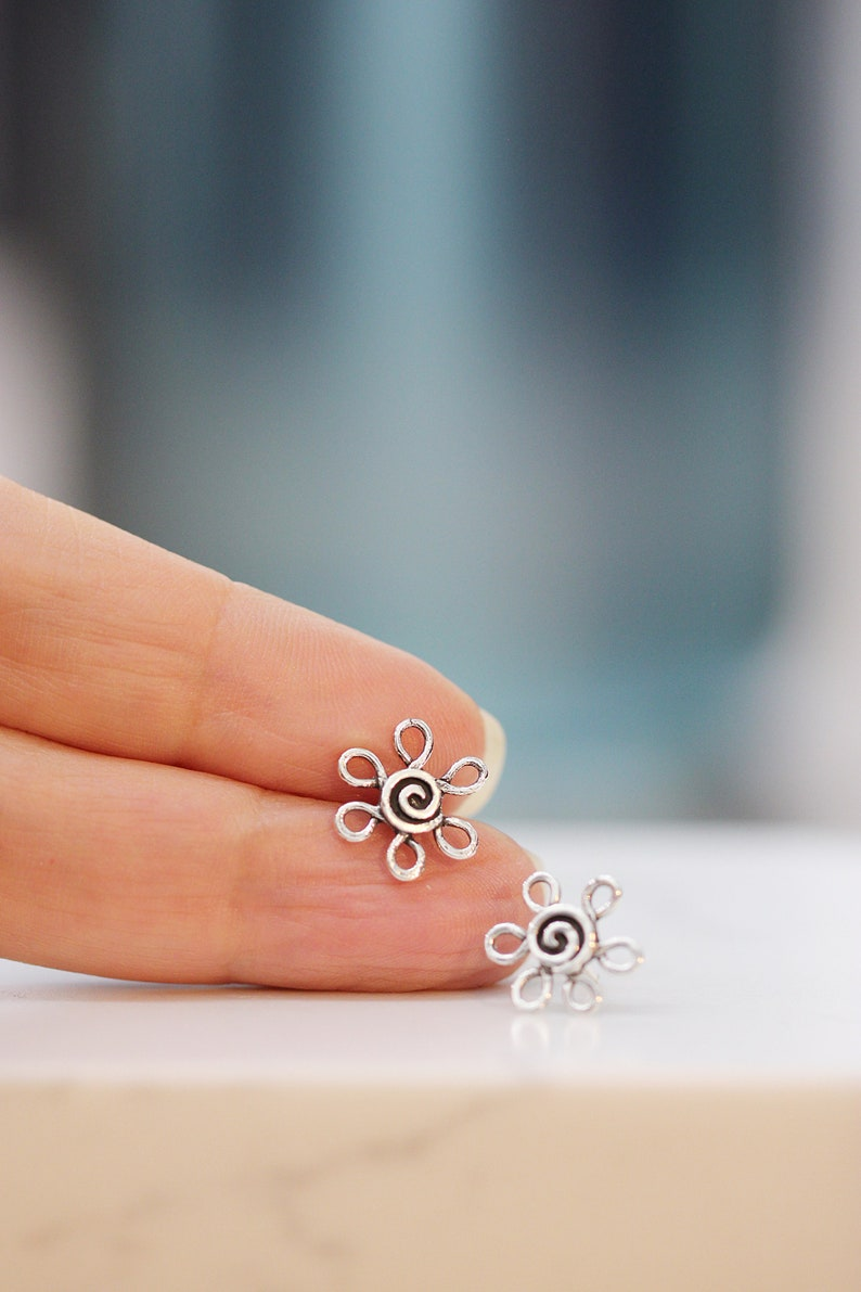 Daisy Earrings Small Flower Posts in Sterling Silver tiny post image 0